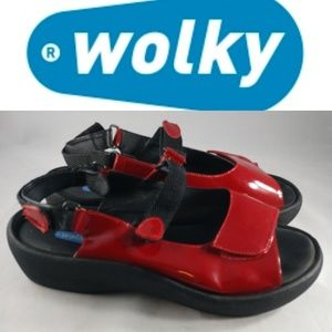 Wolky red patent leather walking sandals 11